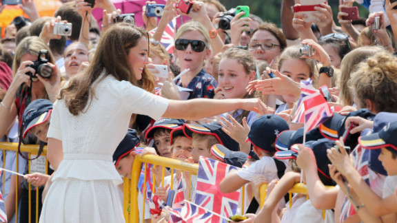 Catherine, Britain's Duchess of Cambridge, meets children at Gardens by the Bay on day two of her Asia visit with husband, Prince William, Wednesday in Singapore.