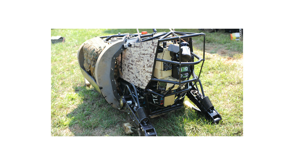 The LS3 is a military robot designed to carry up to 400 pounds of equipment. Equipped with sensors it can sidestep obstacles such as trees and rocks.