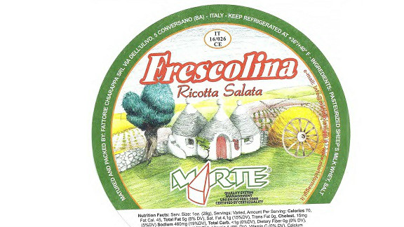 Twenty-two cases were reported of a Listeria monocytogenes infection from the Frescolina Marte brand of ricotta salata cheese in 2012, but 90% of those people were hospitalized, and four people died, according to the CDC.