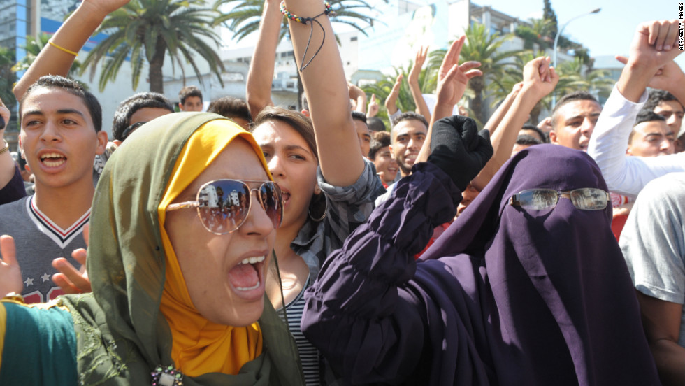 Moroccan women gather near the U.S. Embassy in Casablanca on Wednesday.