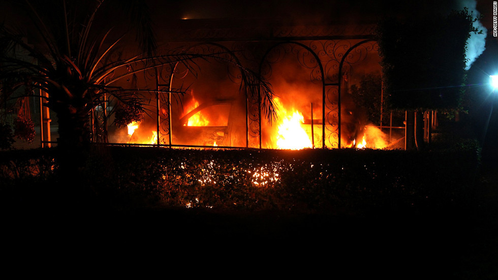 A vehicle burns during the attack on the U.S. mission on September 11.