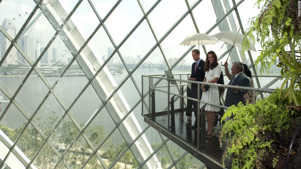 The couple look out over a balcony at Gardens by the Bay on Wednesday.