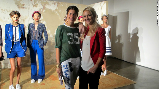 """87583010b011 """"Man Repeller"""" Leandra Medine, left, poses with Marie Claire'"""