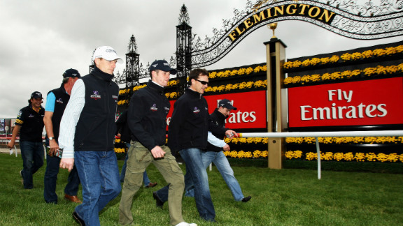 Team Ballydoyle inspect the track at Melbourne Cup