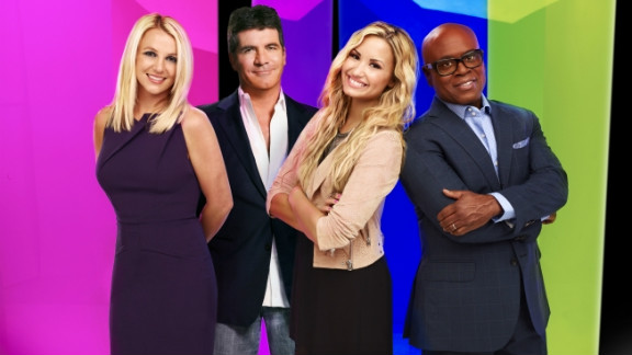 """Britney Spears, Simon Cowell, Demi Lovato, and L.A. Reid are judges this season on """"The X Factor."""""""