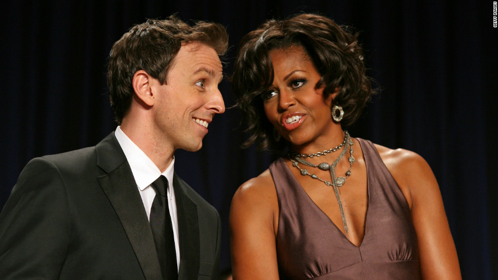 Meyers appears with first lady Michelle Obama at the White House Correspondents' Association annual dinner in Washington on  April 30, 2011.