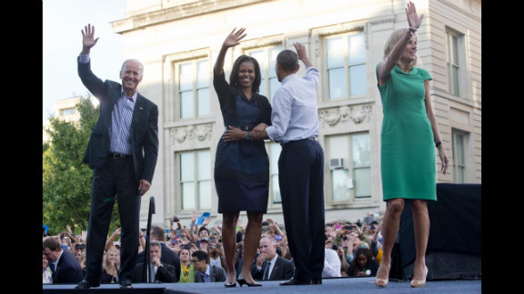 Vice President Joe Biden, first lady Michelle Obama, President Obama and Biden