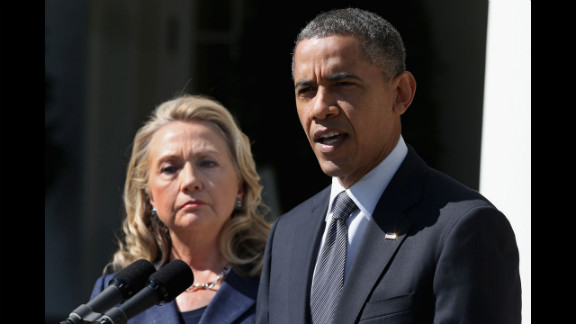 U.S. President Barack Obama, with Secretary of State Hillary Clinton on September 12, makes a statement at the White House about Stevens