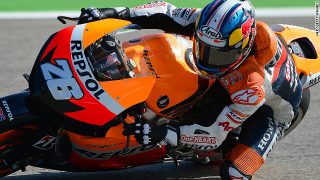 Spain's Dani Pedrosa was fastest in Saturday's qualifying session for the San Marino MotoGP