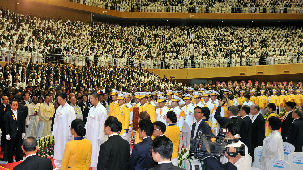 Mourners at the funeral for Rev. Sun Myung Moon on Saturday, September 15, in Gapyeong, South Korea.