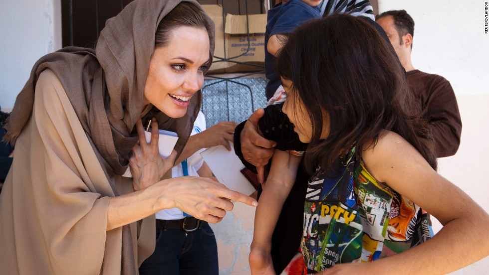 After filming a movie in Cambodia, actress Angelina Jolie began to visit refugee camps around the world. In 2001, she was named a U.N. goodwill ambassador. Since then, Jolie has visited refugee camps in more than 30 countries, and she was appointed special envoy of the U.N. Refugee Agency in April 2012.