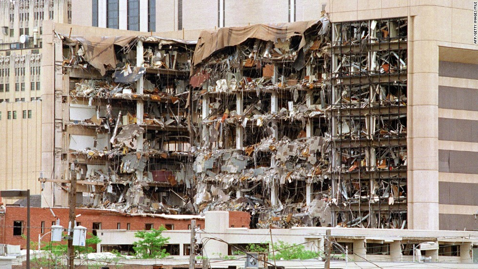 The north side of the Alfred P. Murrah Federal Building in Oklahoma City shows the devastation caused by a fuel-and-fertilizer truck bomb on April 19, 1995. At the time, it was the worst terror attack on U.S. soil, killing 168 people. Timothy McVeigh and Terry Nichols were convicted of the attack. Both were former U.S. Army soldiers associated with the militant Patriot Movement.