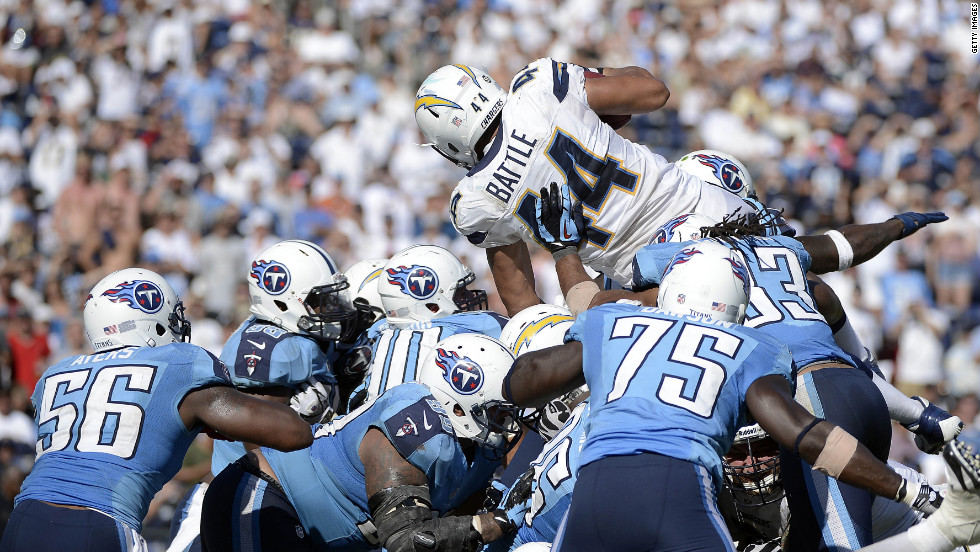 Running back Jackie Battle of the San Diego Chargers goes over the line of scrimmage for a touchdown Sunday against the Tennessee Titans at Qualcomm Stadium in San Diego.