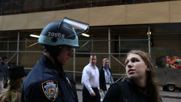 Protester Etkar Surette is arrested during Occupy Wall Street demonstrations on Monday.