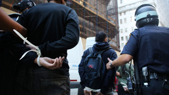 Protesters are arrested during Occupy Wall Street demonstrations on Monday.