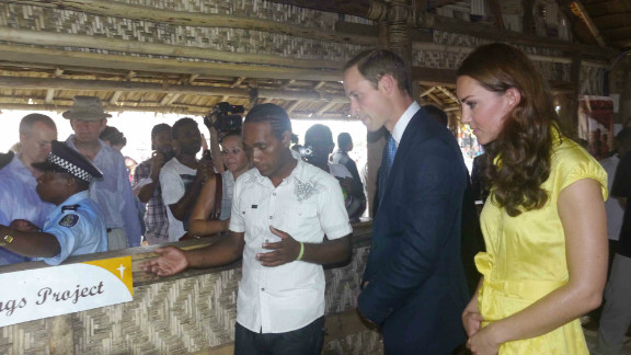 The Duke and Duchess of Cambridge visit Burns Creek, a troubled community on the outskirts of Honiara, the capital of the Solomon Islands.
