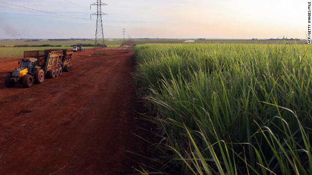 A tractor drives during sugarcane harvest near Sao Paulo, Brazil, in 2008. The country is the world's largest exporter of sugar.