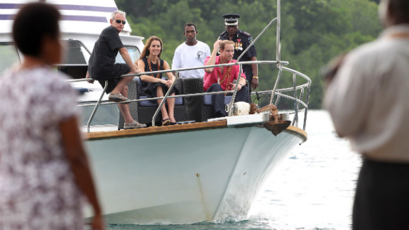 The royal couple visits Tuvanipupu Island in Honiara on Monday.