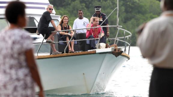 The royal couple visits Tuvanipupu Island in Honiara on Monday.