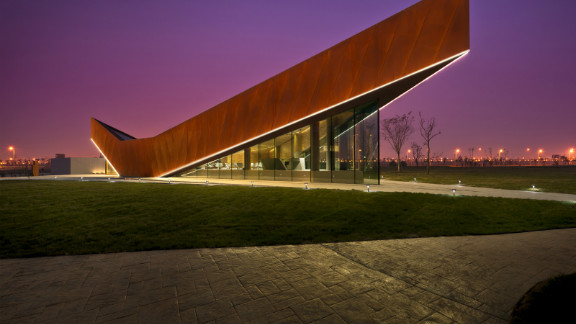 Since its construction in 2011, the Triple V Gallery has become an icon along the Dong Jiang Bay coastline in Tianjin China. The pointy pavilion houses a tourist information center, a permanent show gallery and a discussion lounge.  Designed by: Ministry of Design, Singapore