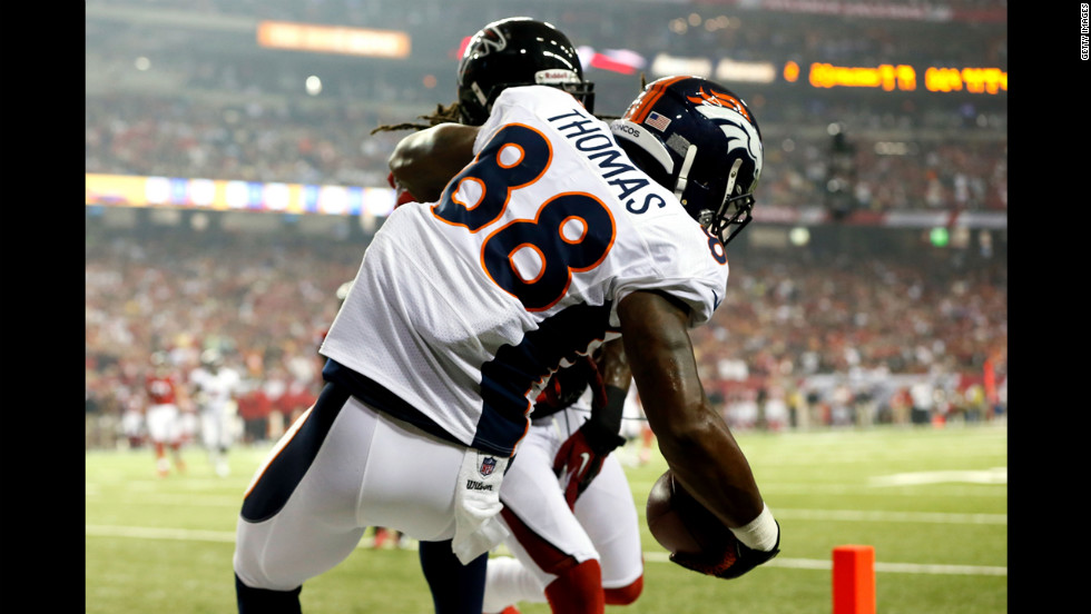 Demaryius Thomas of the Denver Broncos scores a touchdown Monday against the Atlanta Falcons.