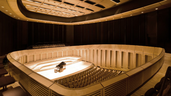 The Royal Welsh College of Music and Drama, which opened to students last year, also utilizes interior panels of timber cladding as part of its $37m refurbishment.  Designed by: BFLS, UK