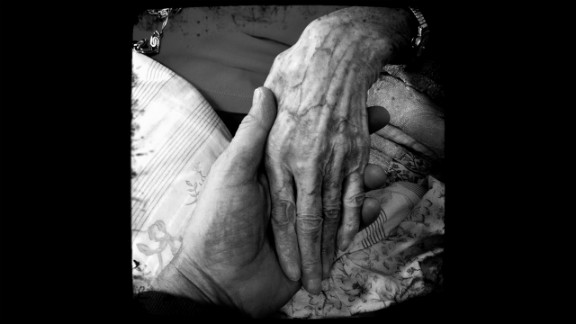 """Grandma's Hand,"" David Rams. Rams took this photo of his grandmother's hand when she was on her deathbed."