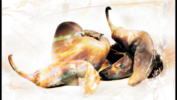 """""""Still Life #2,"""" David Swann. The artist used his digital camera to photograph these peppers, then manipulated the image with Brushes, ToonPaint, Photo fx, Artista Oil and Pic Grunger on his iPhone."""