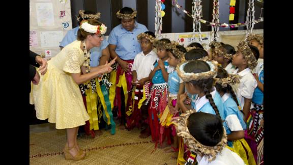 Catherine, Duchess of Cambridge, visits Nauti Primary School on Tuesday in Tuvalu.