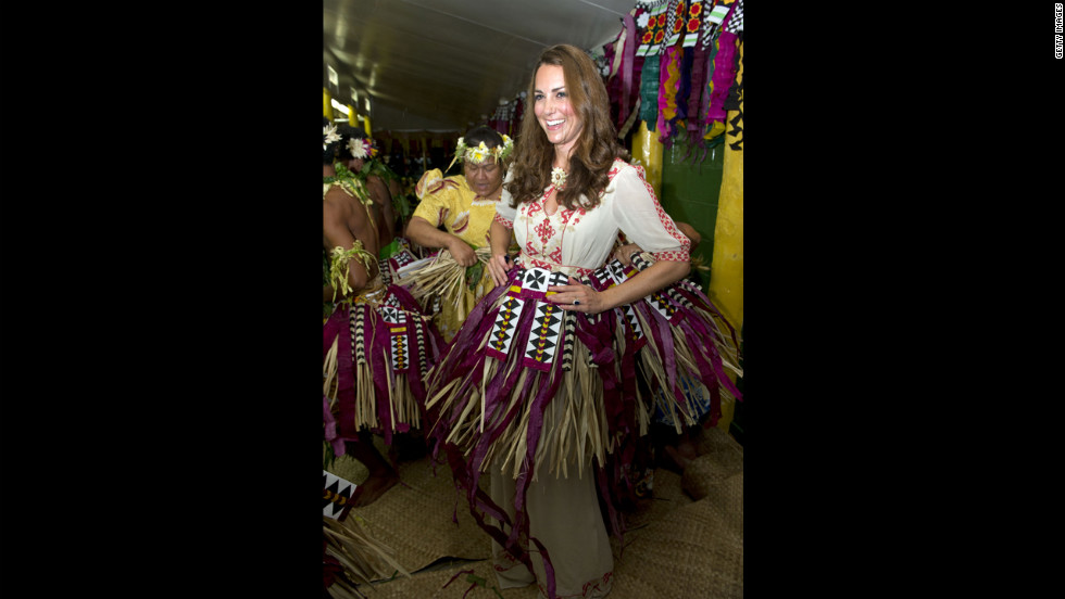 Catherine, Duchess of Cambridge, prepares to dance at the Vaiku Falekaupule ceremony on Tuesday.