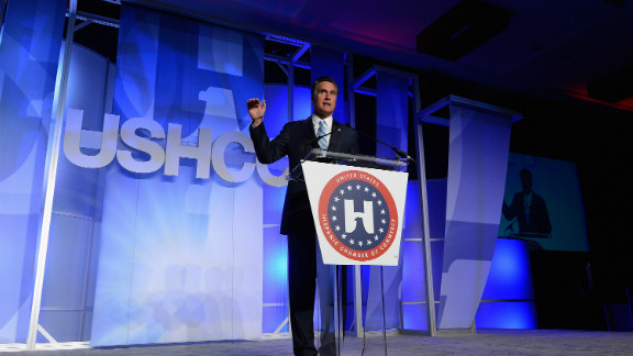 Mitt Romney addresses the U.S. Hispanic Chamber of Commerce's national convention on September 17 in Los Angeles