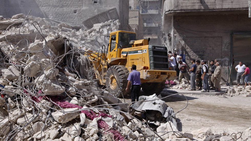 Construction equipment is used at the Aleppo site on Wednesday.