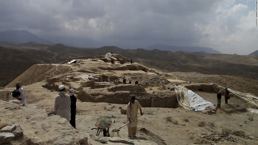People work at one of the many archaeological excavation sites at Mes Aynak. In 2009, the mining company gave archaeologists three years to excavate the site.