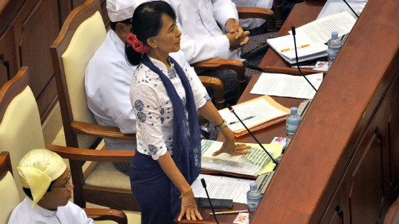 Suu Kyi speaks during a regular session at the lower house of parliament in Naypyidaw, Myanmar, on July 25, 2015. Suu Kyi called for laws to protect the rights of the nation