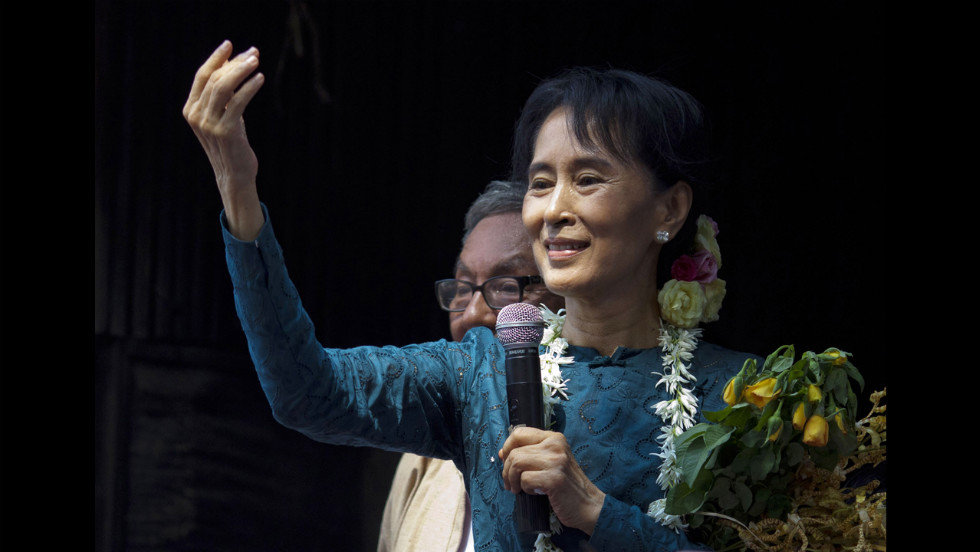 Suu Kyi addresses thousands of her supporters at her National League for Democracy headquarters on November 14, 2010.
