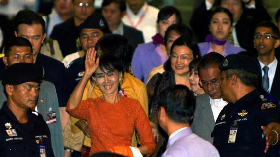 Suu Kyi leaves the Suvarnabhumi  International airport  on her first international trip in 24 years outside Myanmar on May 29, 2015in Bangkok, Thailand.