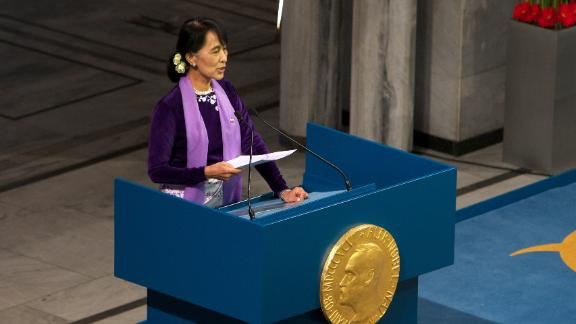 Suu Kyi speaks during a Nobel lecture in Oslo, Norway, in 2015. She was finally able to receive the Nobel Peace Prize that she won while she was under house arrest in 1991.