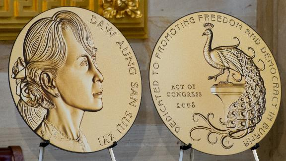 A large cutout of the Congressional Gold Medal awarded to Suu Kyi is on display on Wednesday.
