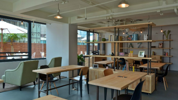 This space, located in a high-rise office building, includes a large outdoor terrace.