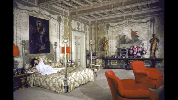 Sophia Loren on her bed in her Italian villa, 1964.
