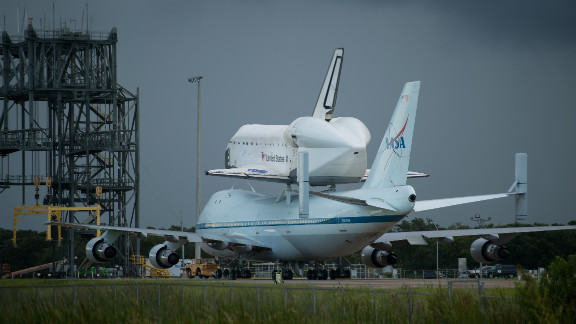 Space shuttle Endeavour is seen atop NASA's Shuttle Carrier Aircraft at the Shuttle Landing Facility at Kennedy Space Center on Monday, September 17, in Cape Canaveral, Florida. See more of CNN's best photography.