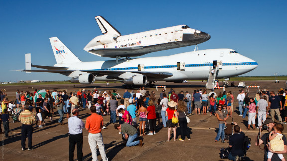 The public was invited to view the shuttle as it rested at Ellington Field.