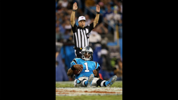 Cam Newton reacts after he was sacked in the first half against the Giants on Thursday.