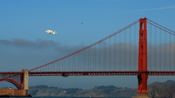 Endeavour completed a flyover of San Francisco before continuing on to Los Angeles. Here, it makes a pass over the Golden Gate Bridge.