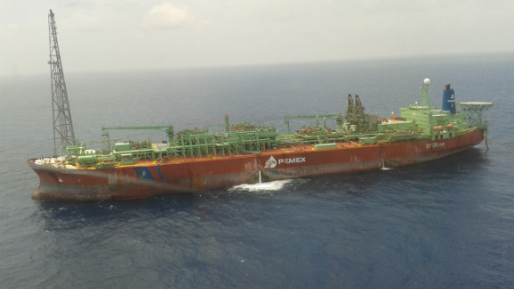 A floating Pemax oil production facility with capacity to store and process about 2 million barrels of oil. The oil is later transferred directly onto tankers.