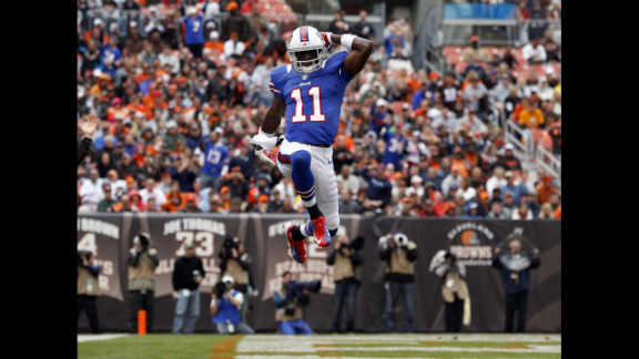 T.J. Graham of the Buffalo Bills celebrates after scoring a touchdown against the Cleveland Browns on Sunday.