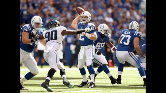 Andrew Luck of the Indianapolis Colts throws a pass during Sunday