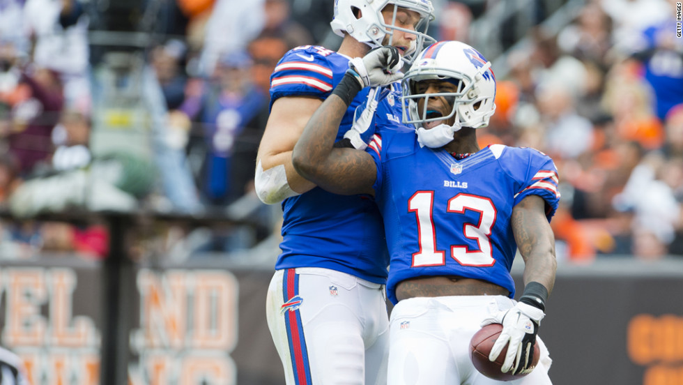 Buffalo's No. 13 Steve Johnson celebrates after scoring a touchdown.