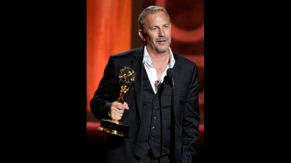 """Kevin Costner accepts the outstanding lead actor in a miniseries or a movie award for """"Hatfields & McCoys."""""""