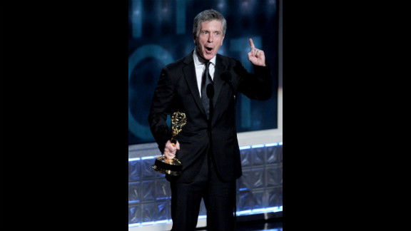 """Tom Bergeron accepts the award for outstanding host of a reality or reality-competition program for """"Dancing With the Stars."""""""